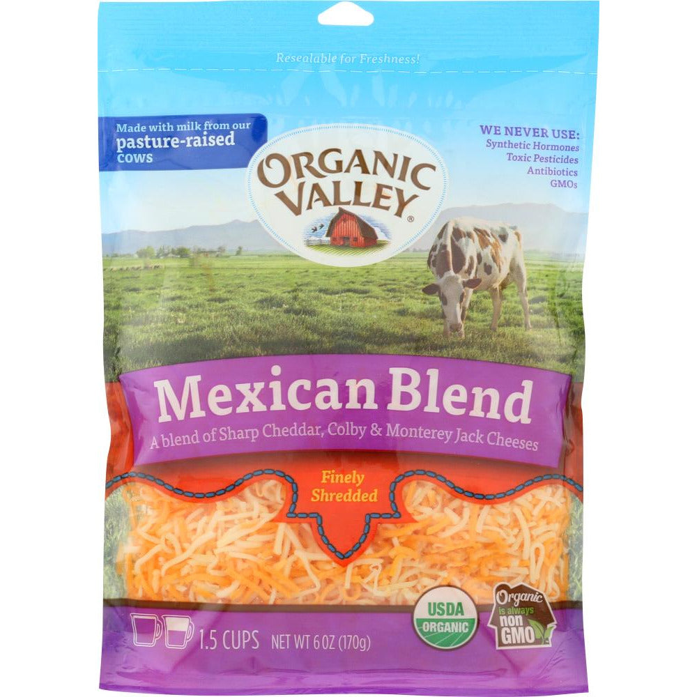 Organic Valley: Fancy Shredded Mexican Blend Cheese, 6 Oz