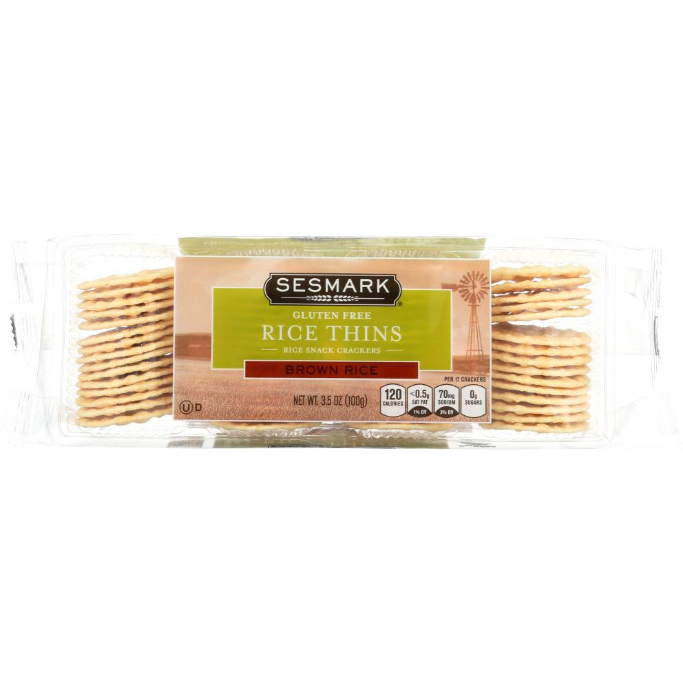 Sesmark: Gluten Free Rice Thins Brown Rice, 3.5 Oz