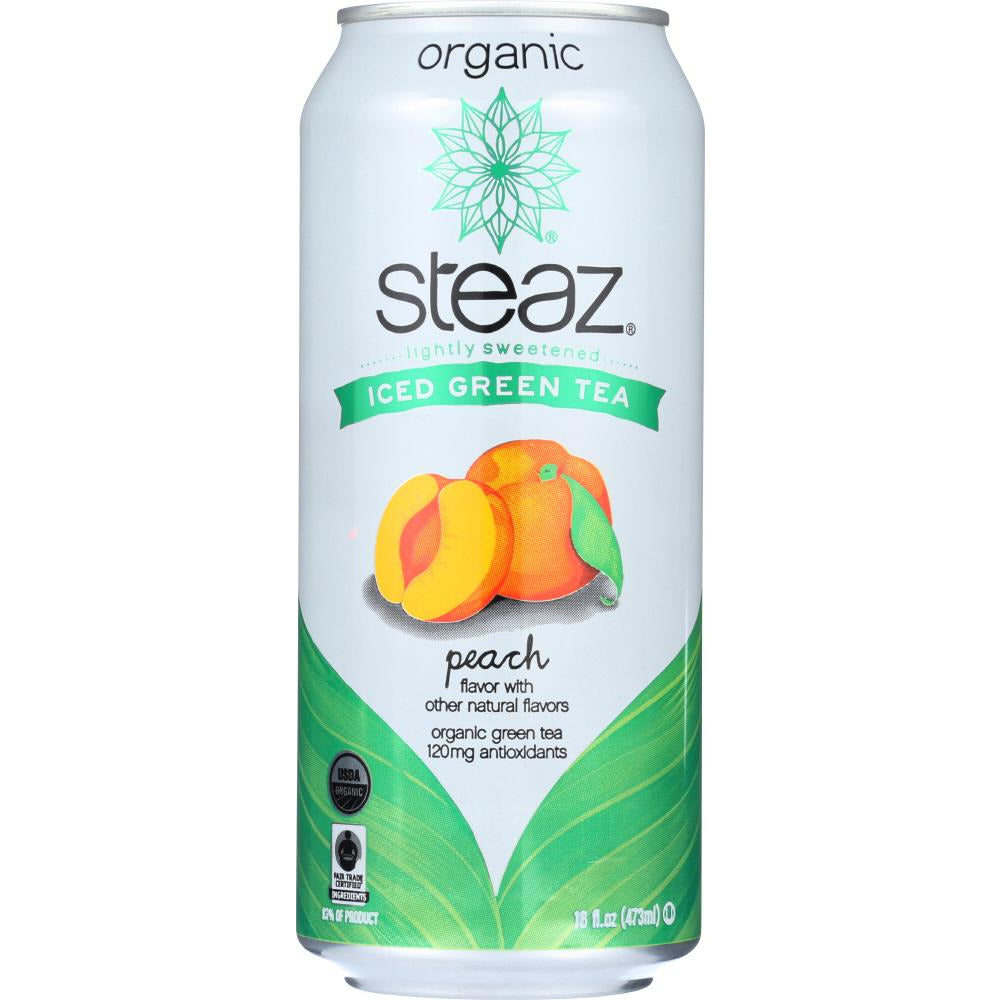 Steaz: Organic Iced Green Tea Peach Lightly Sweetened, 16 Oz