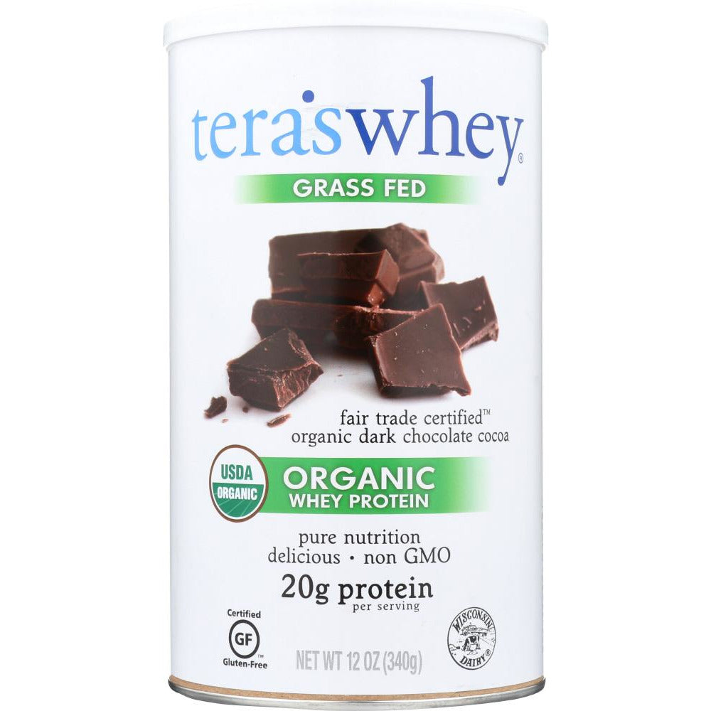 Tera's Whey: Grass Fed Organic Whey Protein Fair Trade Dark Chocolate, 12 Oz