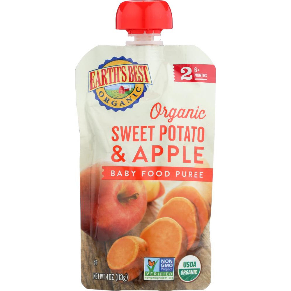 Earths Best: Sweet Potato Apple Baby Food Puree, 4 Oz