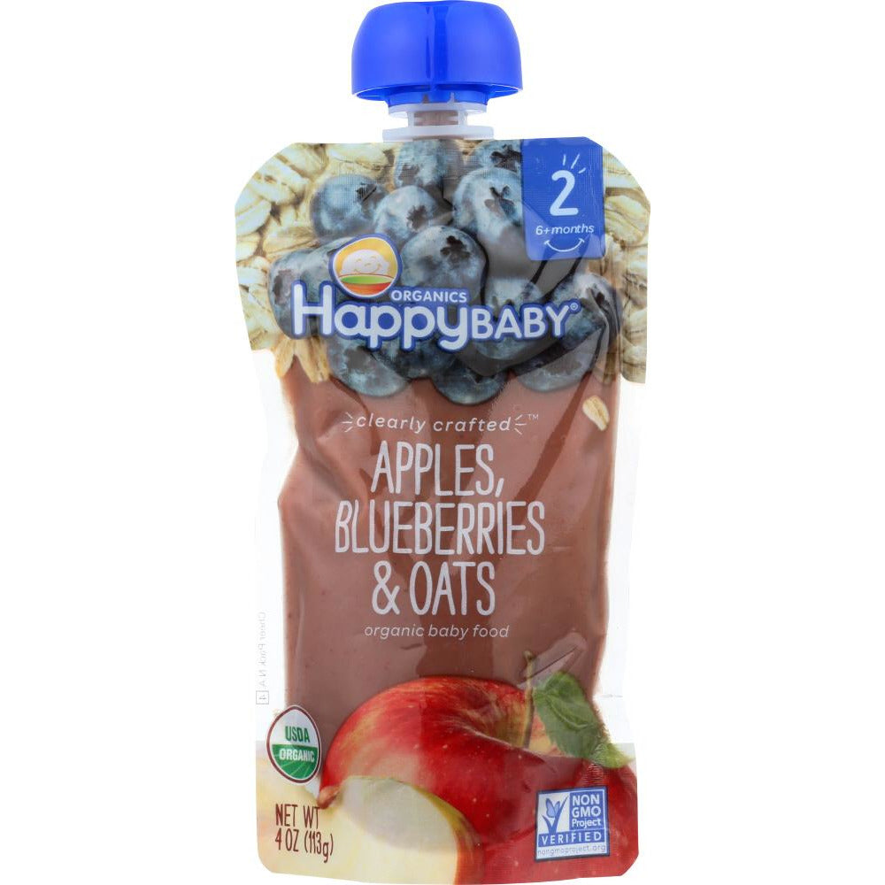 Happy Baby: Stage 2 Apple Blueberry And Oats Organic Baby Food, 4 Oz