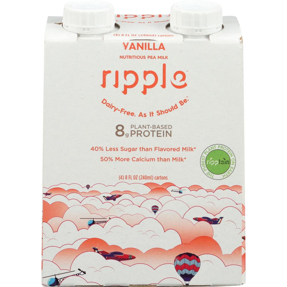 Ripple: Plant Based Pea Milk Vanilla 4 Pack, 32 Fl Oz