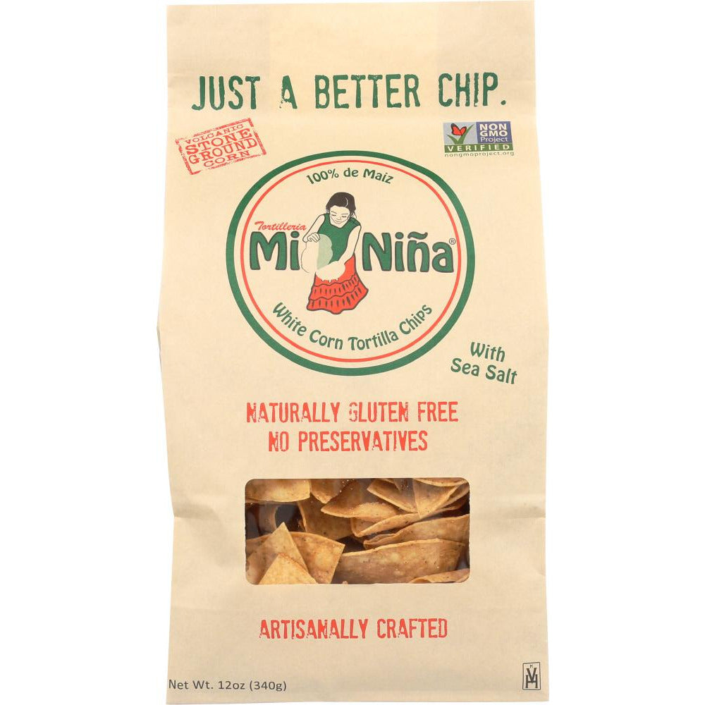 Mi Nina: Chips Tortilla Sea Salt, 12 Oz
