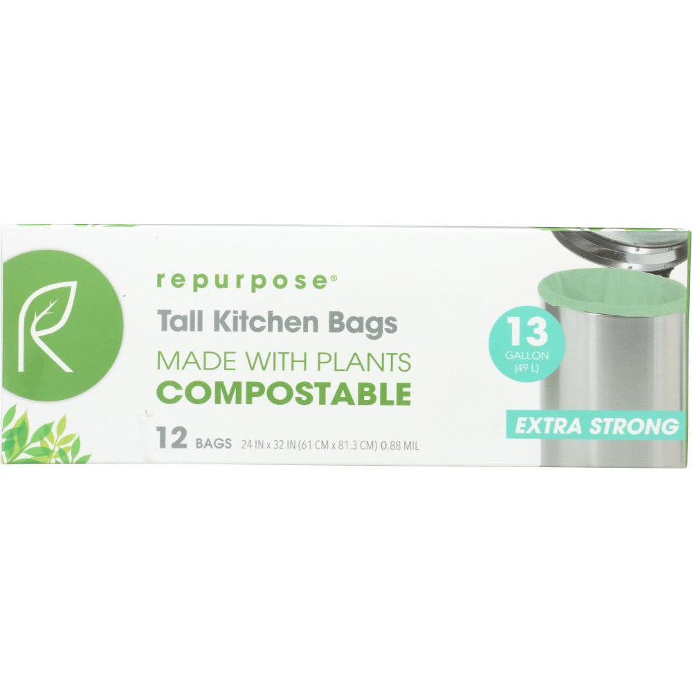 Repurpose: Compostable Extra Strong Tall Kitchen Bags 13gal, 12 Ea