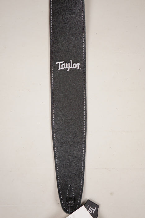 "Taylor Guitars Soft Leather/Suede 2.5"" Black with White Embroidery"