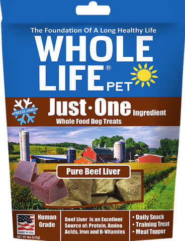 Whole Life Just One Grain Free Pure Beef Liver Freeze Dried Dog Treats