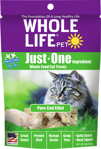 Whole Life Just One Grain Free Pure Cod Fillet Freeze Dried Cat Treats