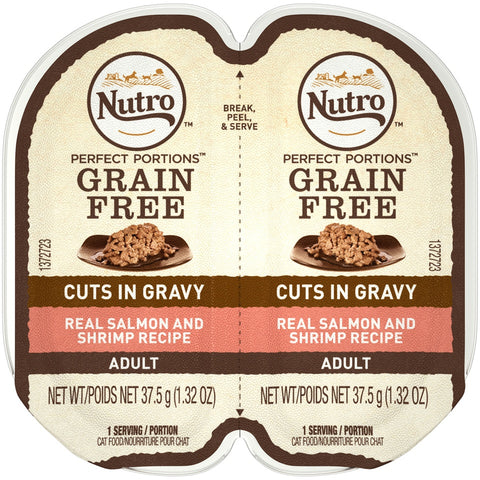 Nutro Perfect Portions Grain Free Cuts In Gravy Real Salmon & Shrimp Recipe Wet Cat Food Trays