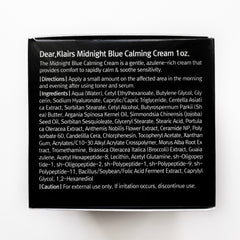 Dear, Klairs Midnight Blue Calming Cream Ingredients