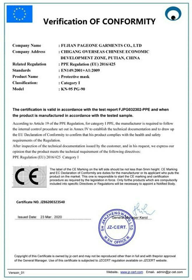 CE Approved KN95 Face mask
