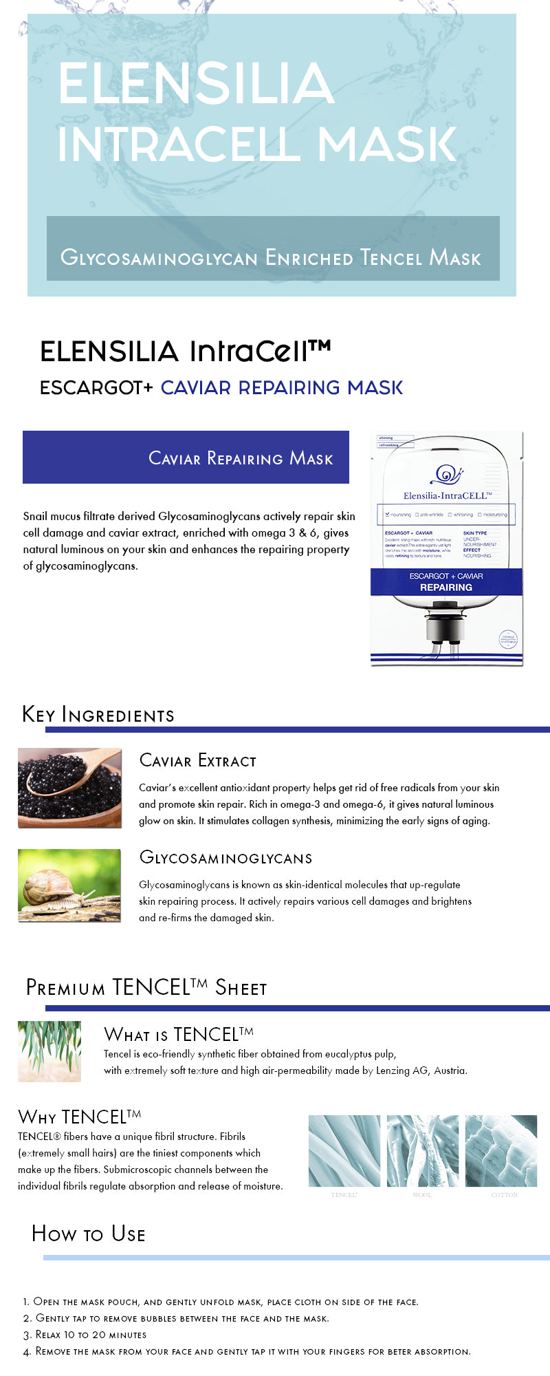 Elensilia IntraCELL Escargot + Caviar Repairing - 1 Sheet