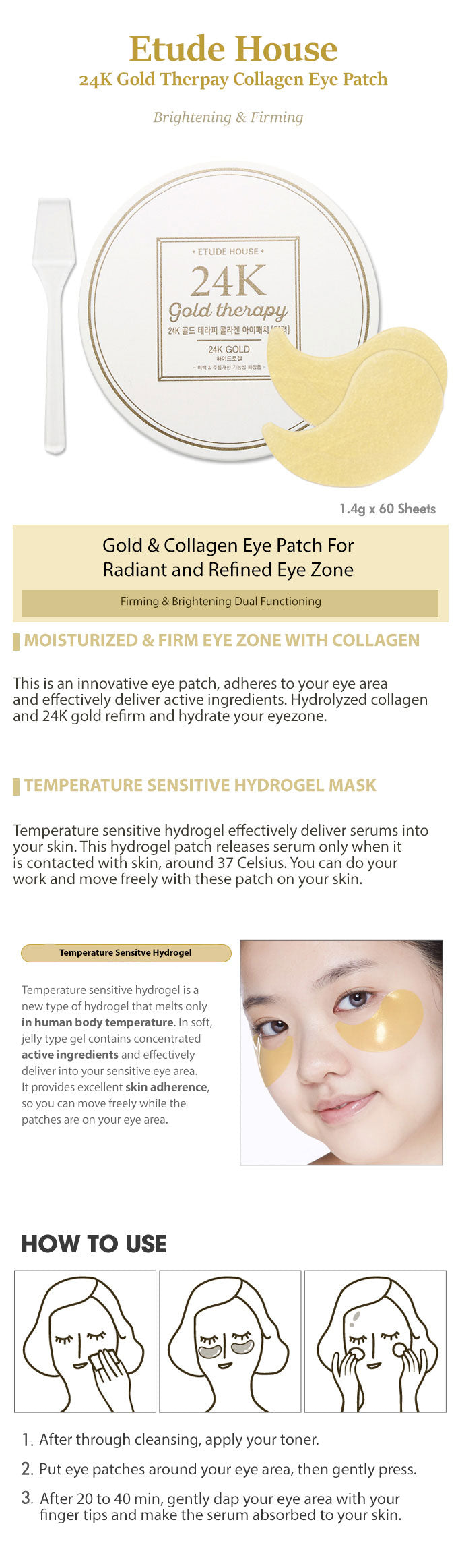 Etude House 24K Gold Theraphy Collagen Eye Patch