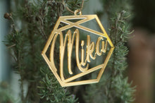 Load image into Gallery viewer, Personalised Mirror Hexagon Bauble