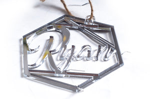Personalised Mirror Hexagon Bauble