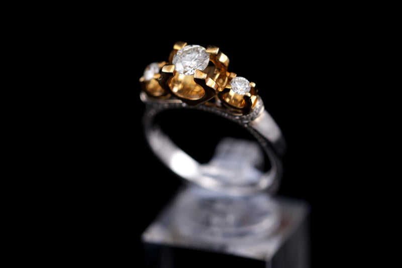 Diamond, Yellow & White Gold Ring