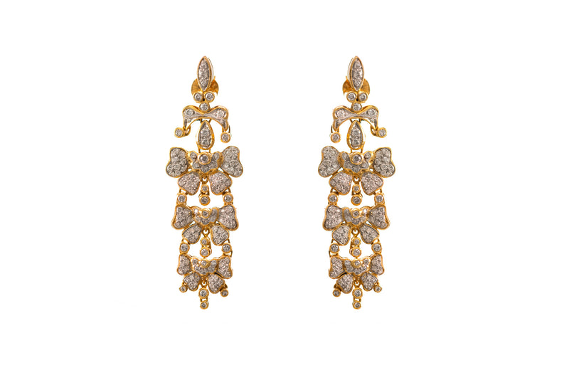Happy Bow Diamond Drop Earrings