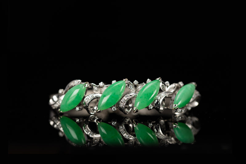14K White Gold Bracelet with Jade