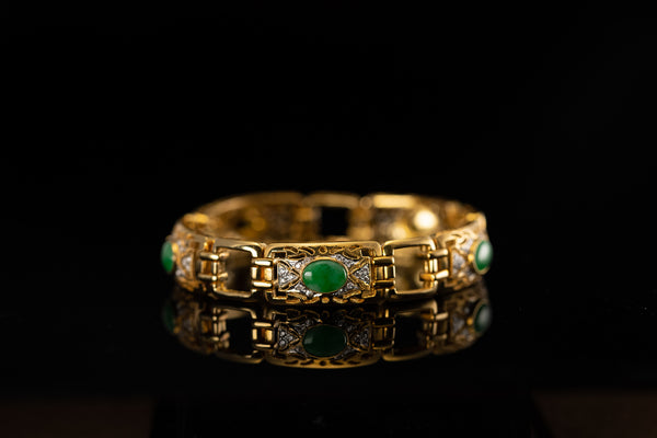 20K Yellow Gold Bracelet with Diamonds and Jades