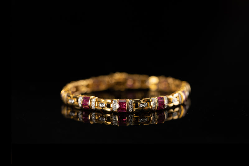 18K Yellow Gold Bracelet with Diamonds and Rubies
