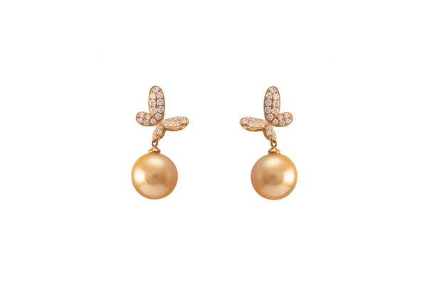 Golden South Sea Pearl Diamond Butterfly Design Earrings