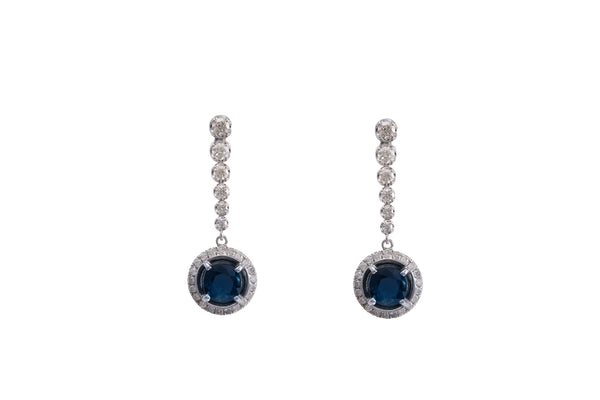 Sapphire Diamond Dangling Earrings