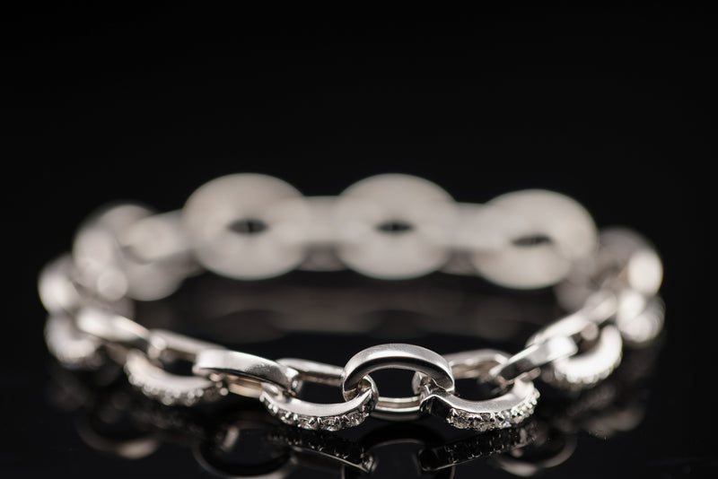 White Gold Modern Chain Diamond Bracelet