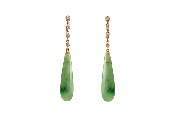 Jade & Diamond 18K Gold Earrings