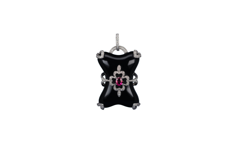 Onyx, Ruby & Diamond Pendant