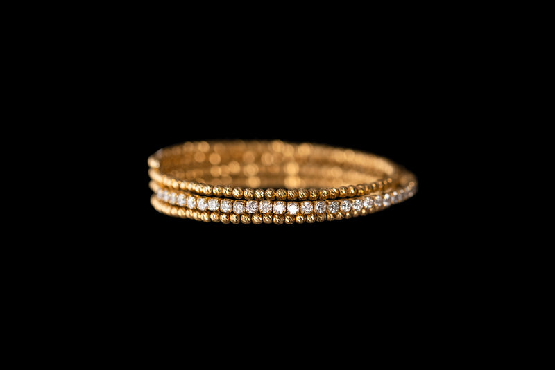 Flexi 18K Yellow Gold Bangle with Diamonds