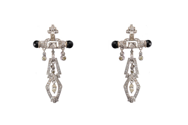 Art Deco Style 18K Diamond Earrings