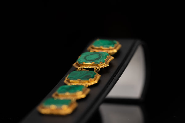 18K Gold Malachite Bracelet