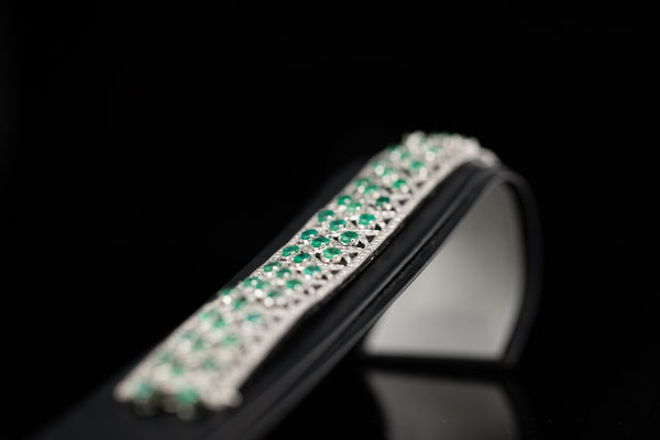 18K White Gold Bracelet Diamonds & Emeralds
