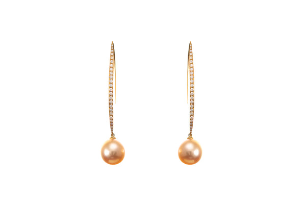 Golden South Sea Pearl Diamond Earrings