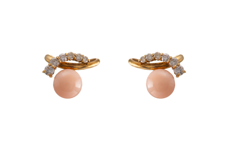 Peach Coral Earrings with Diamonds