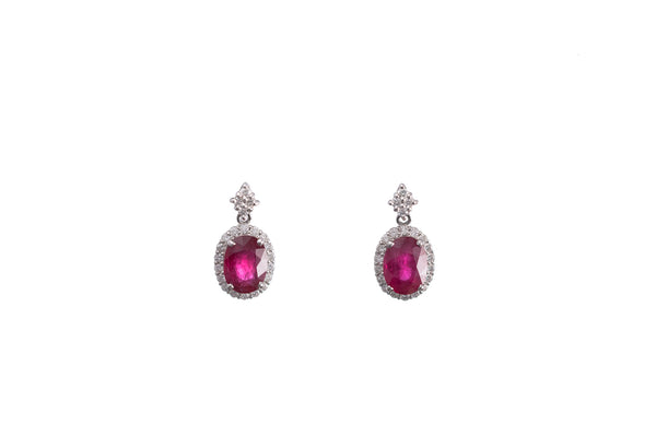 Diamond & Ruby Platinum Earrings