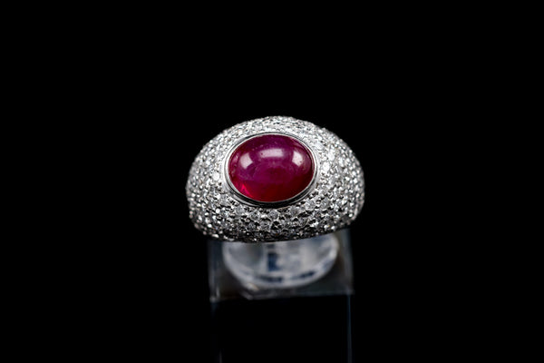 Ruby Cabochon Platinum Ring