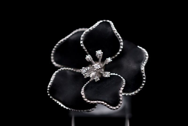 Diamond & Onyx Floral Ring