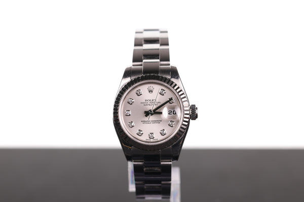 Rolex Ladies' Datejust Silver with Diamond Dial