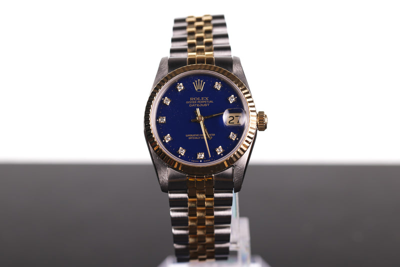 Rolex Lady-Datejust Blue Dial Diamond Markers 68273