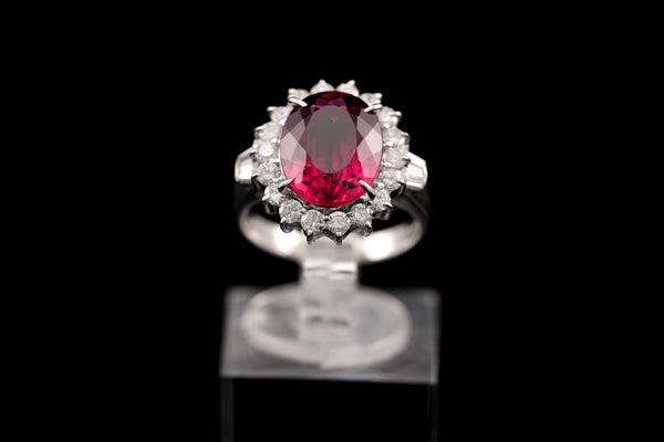 Diamond & Rubellite Platinum Ring
