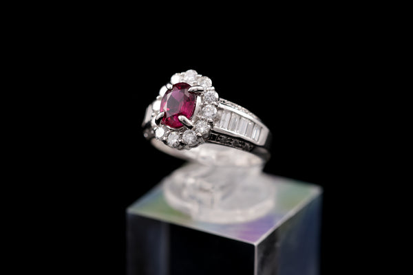Diamond & Ruby Platinum Ring