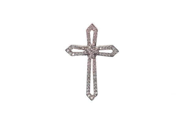 White Gold & Diamond Cross Pendant