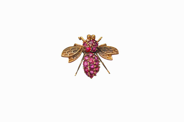Ruby Wasp Brooch