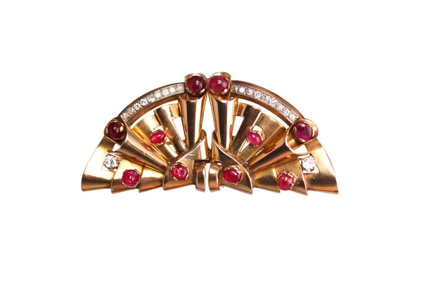 Art Deco Diamond & Ruby Brooch