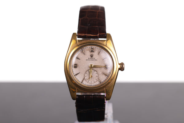 Vintage Men's Rolex Bubbleback Automatic 2940 Gold Plated Leather