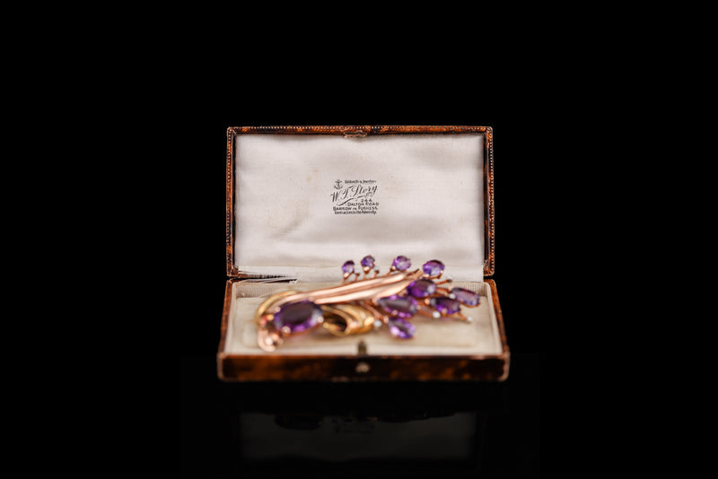 14K Gold Amethyst Diamond Spray Brooch