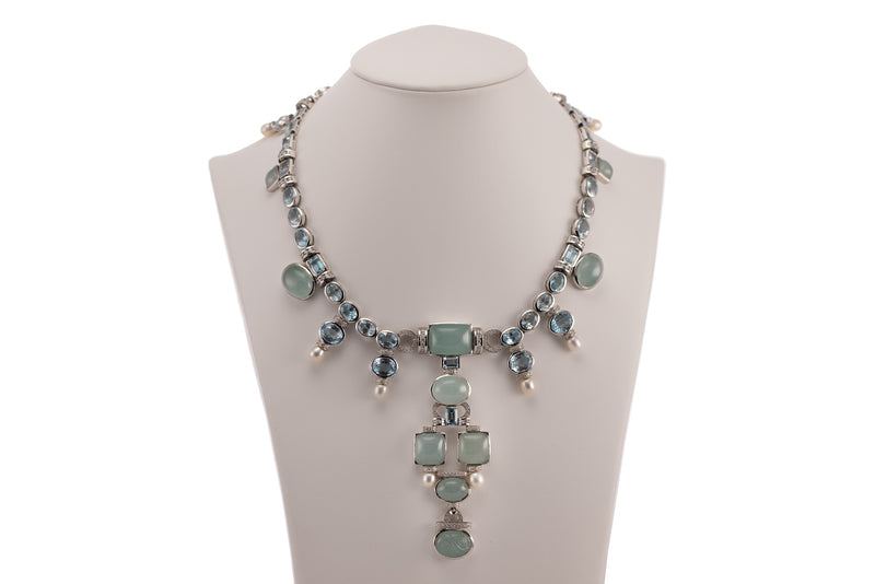 Diamond, Aquamarine & Pearl Necklace