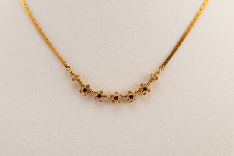 Diamond & Ruby Yellow Gold Necklace