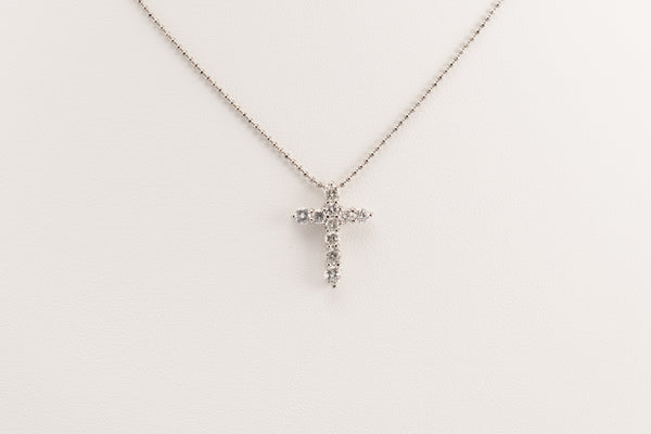 Diamond Platinum Cross Necklace